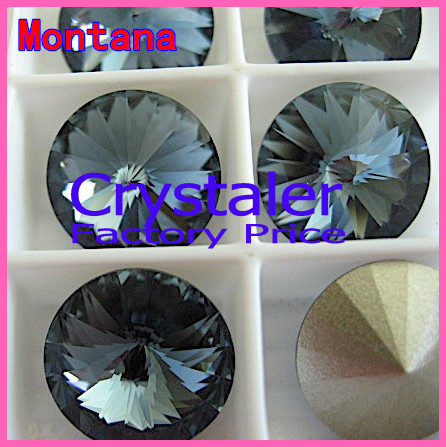 100pcs/lot Montana Color 8mm 10mm 12mm 14mm 16mm 18mm 20mm Chinese Top Quality Round Fancy Stone Glass Rivoli Beads