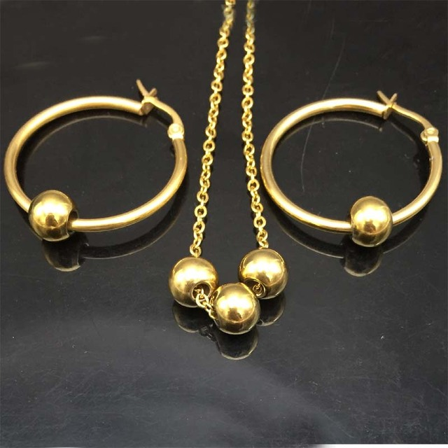 316l Stainless Steel Gold Ball Pendant Beads Necklace Sets Hoop Earring Fashion Jewelry Set