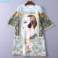 QYFCIOUFU New Fashion 2019 Summer Loose Dress Women Short Sleeve Cartoon Print Runway Dress Rhinestone Short Dresses