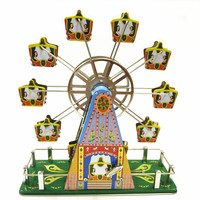 Adult Collection Retro Wind up toy Metal Tin The Music ferris wheel Mechanical toy Clockwork toy figures model christmas gift