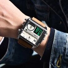 Original 6.11 Multiple Time Zone Quartz Watches Square Men