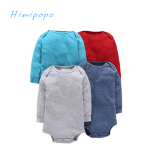 Himipopo 4 pcs Baby Boys Bodysuit Infant Jumpsuit Overall Long Sleeve Body Suit Baby Clothing Set Newborn Clothes Set Solid