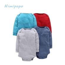 Himipopo 4 pcs Baby Boys Bodysuit Infant Jumpsuit Overall Long Sleeve Body Suit Baby Clothing Set