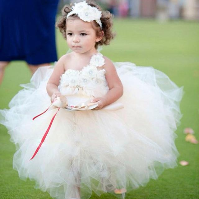 Champagne Ivory Blumenmädchen Kleid Vintage Satinband blume mädchen ...