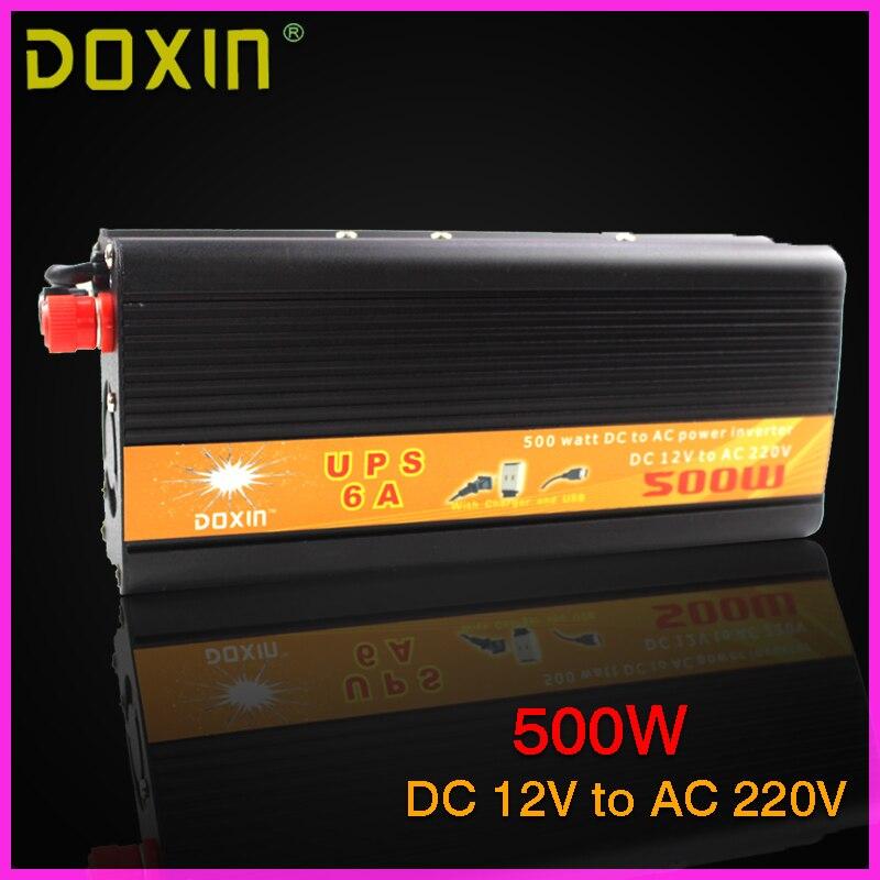 UPS Inversor DC To AC 12V 220V Car Power Inverter 500W Universal Uninterrupted Power Supply Auto Charge ST-N028 universal zinc alloy 500w dc to ac power inverter w car lighter silver