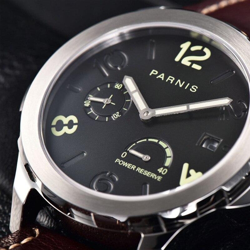 2018 새로운 자동 시계 남자 parnis 최고 브랜드 luxuury 실버 menchanical 시계 44mm 가죽 빛나는 날짜 날짜 pvd 사파이어-에서기계식 시계부터 시계 의  그룹 1