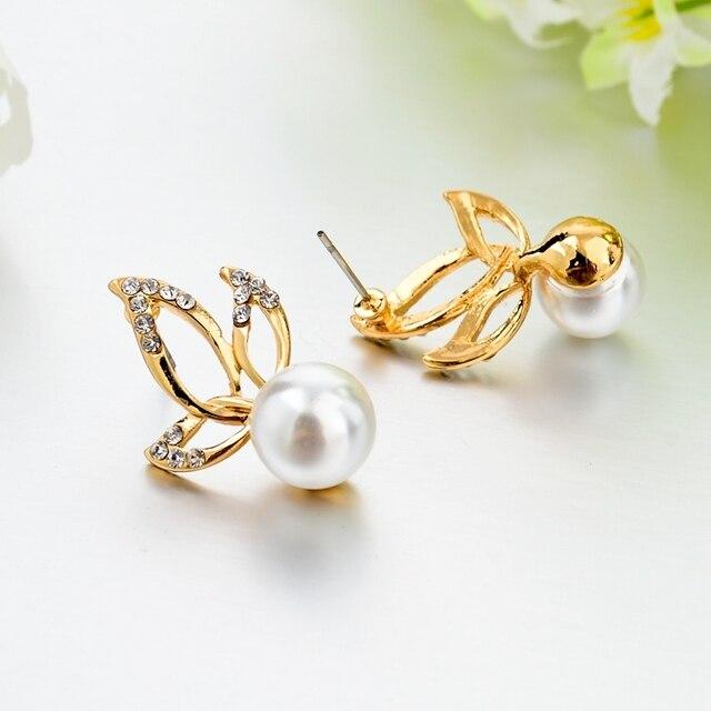 Купить chicvie золотые двухсторонние серьги гвоздики с имитацией жемчуга картинки