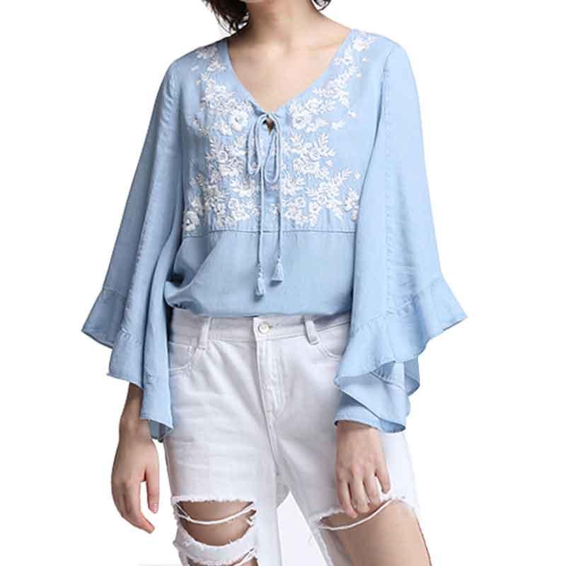 Women blouse shirt flare long sleeve v neck lace up for Womens denim tunic shirt