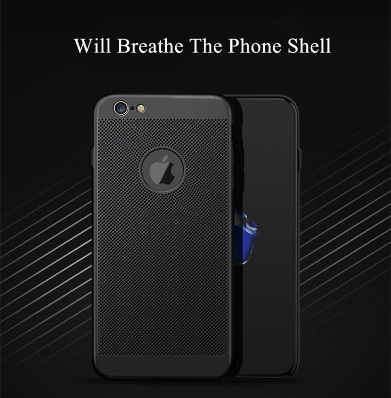 HTB1Dg4mlY1YBuNjSszeq6yblFXaN - Dreamysow Hollow Heat Dissipation Hard PC for iPhone X 10 8 7 6 XS max XR 6S Plus 5S SE Phone Case Matte Protective Cover Coque