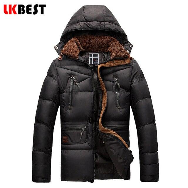 LKBEST 2017 New Brand Jacket Men Winter Warm Thicken Cotton Down Parka Jacket fur collar outwear brand clothing (PW609L)
