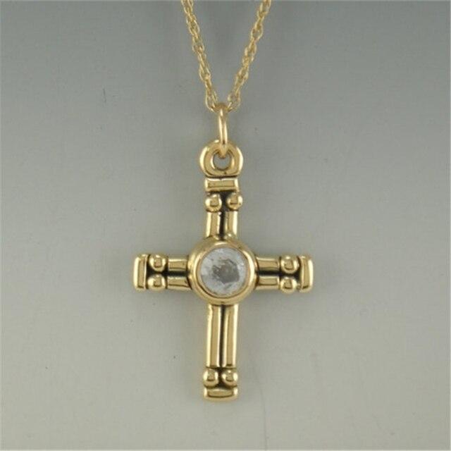 LASAMERO Antigo Cruz Religiosa 0.5ct Esdomera Moissanites Cor D 925 Sterling Silver Solitaire Colar Pingente