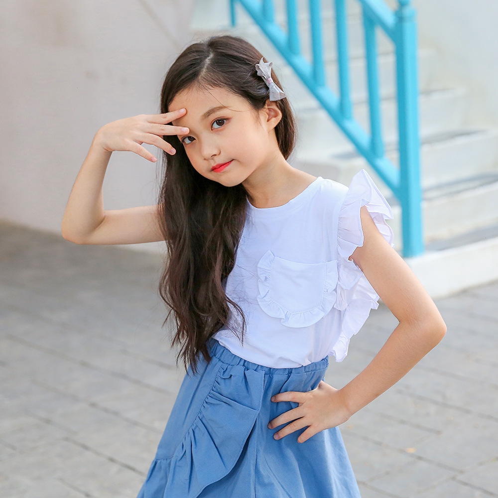White Summer T Shirt For Girls 2018 Tops 8 10 11 12 Years