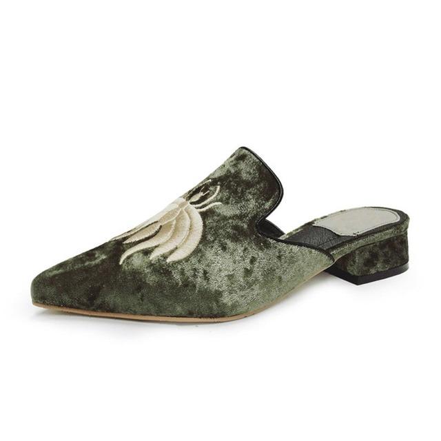 Zoe Saldana 2017  Embroider Velet Mules Slides Furry Slipper Flat Heel Platform Flip Flops Slipony Woman Shoes