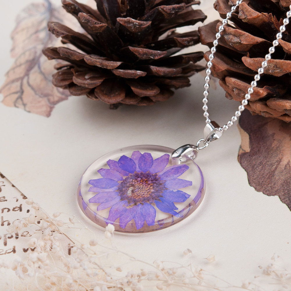 Dried Flower Necklace - pink