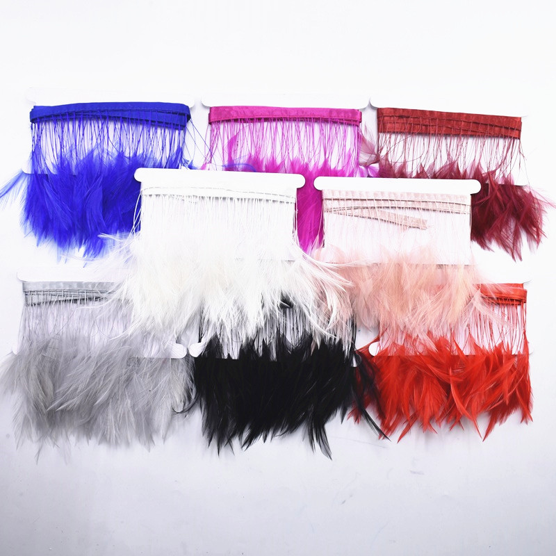 2Meters Lot Natural Dyed Stripped Rooster Hackle Feather Trims Handmade Clothing Pheasant Feathers for Crafts Trim Ribbon Plumas in Feather from Home Garden