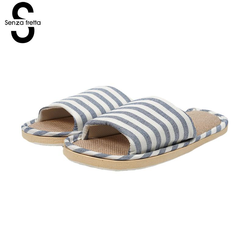 Senza Fretta 2018 New Arrival Men Slippers Fashion Stripes Linen Men Slippers Indoor Non-slip Soft Slippers Men Shoes Plus Size mashimaro new arrival men s linen slippers cotton fabric hemp slippers beach non slip indoor slippers men s fashion slippe