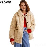 2018 Women Coat Jacket Lamb Fur Long Sleeves Turn down Collar Loose Outwear women lamb coats autumn Winter