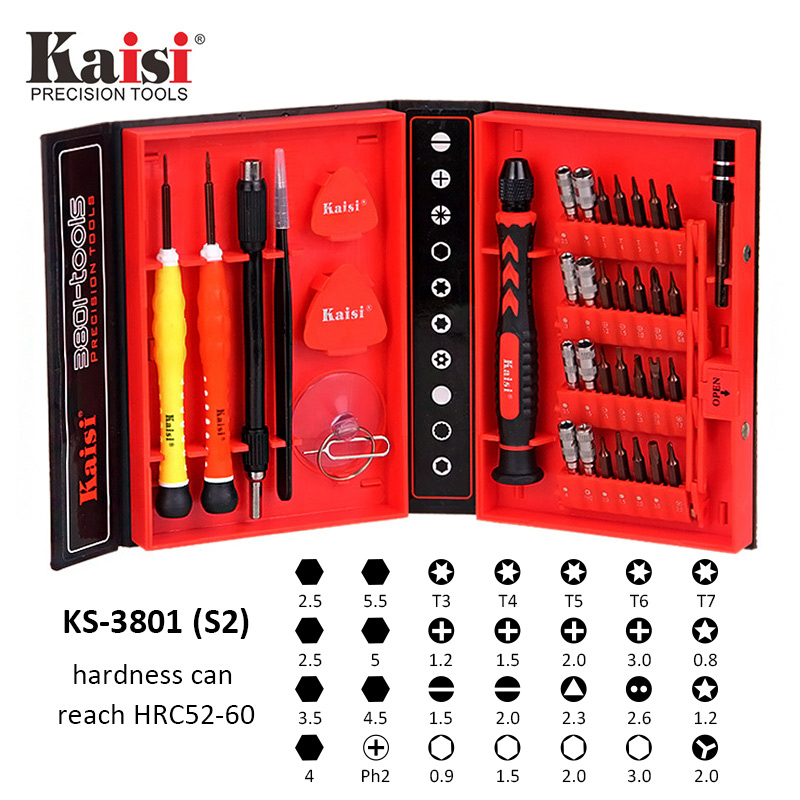 Kaisi Chrome Vanadium Steel Disassemble Household Tools Precision Screwdriver Set For iPhone iPad Mac Computer KS-3801(S2)-4108 hot kaisi precision 51 in 1 screwdriver set of chrome vanadium steel disassemble household tools for iphone for ipad for mac