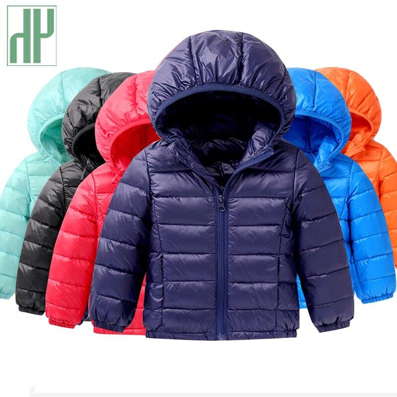 HH Luz 1-5Y Niños Chaqueta 90% Plumón de pato Abrigo de Invierno Bebé de parka chaqueta ropa de niña Prendas abrigo niña Sudaderas Con Capucha Gruesa Capa Del Muchacho