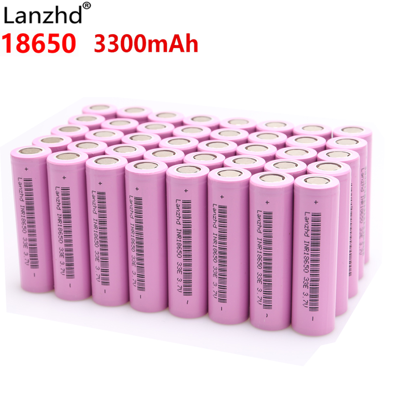 Lanzhd Rechargeable Batteries 18650 Battery Li Ion 3.7V 3300mAh INR18650 Lithium Li-ion 18650 30A 18650VTC7 18650 (5-40pcs)