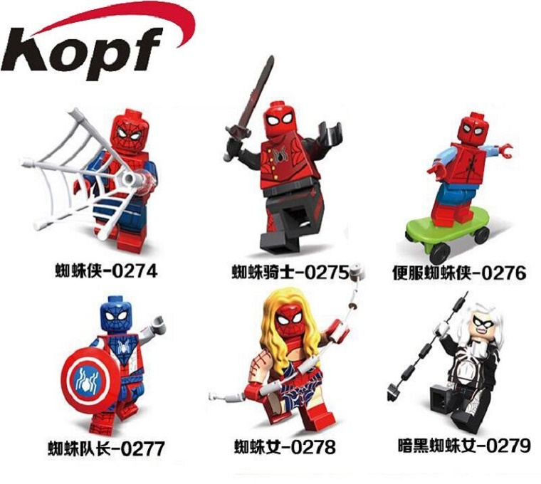 10Set Decool 0274-0279 Super Heroes Spider-honecoming Spidergirl Spiderman Spider Captain Biker Building Blocks Kids Gift Toys