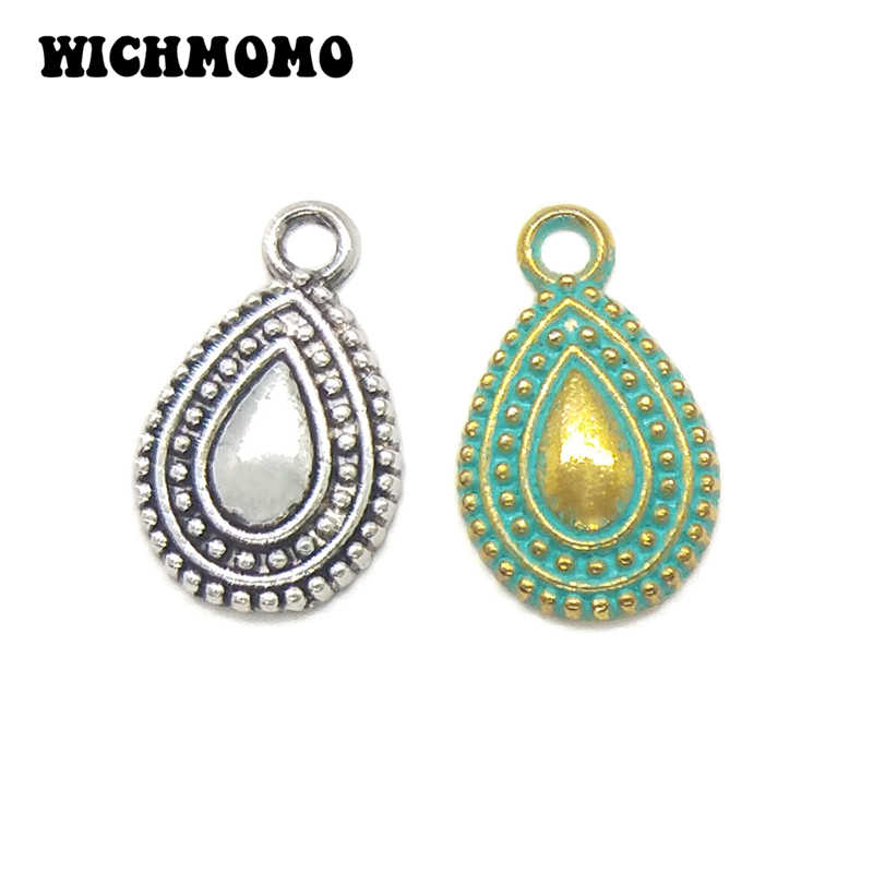 20pcs 17MM Retro Patina Plated Zinc Alloy Green Water Drop Shape Charms pendants For DIY Jewelry Accessories PJ020