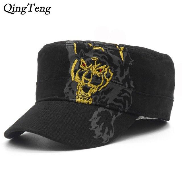 bc3628ad1a3b4 Estaciones estilo casual gorras del algodón del bordado del tigre moda  militar sombreros ajustable Sun gorras
