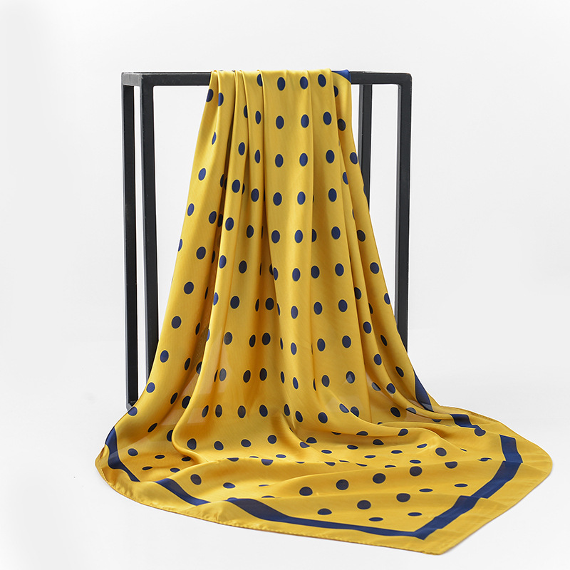 Dot Print Ladies Silk   Scarf   New Fashion Accessories Large Size Women Muslim Head   Scarves     Wraps   90*90CM Drop Shipping