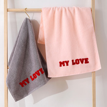 FOURETAW 1 Piece Chic The MY LOVE Embroidery 100% Cotton Face Towel Bath Towel Soft Cotton Beauty Towel Bathroom Products