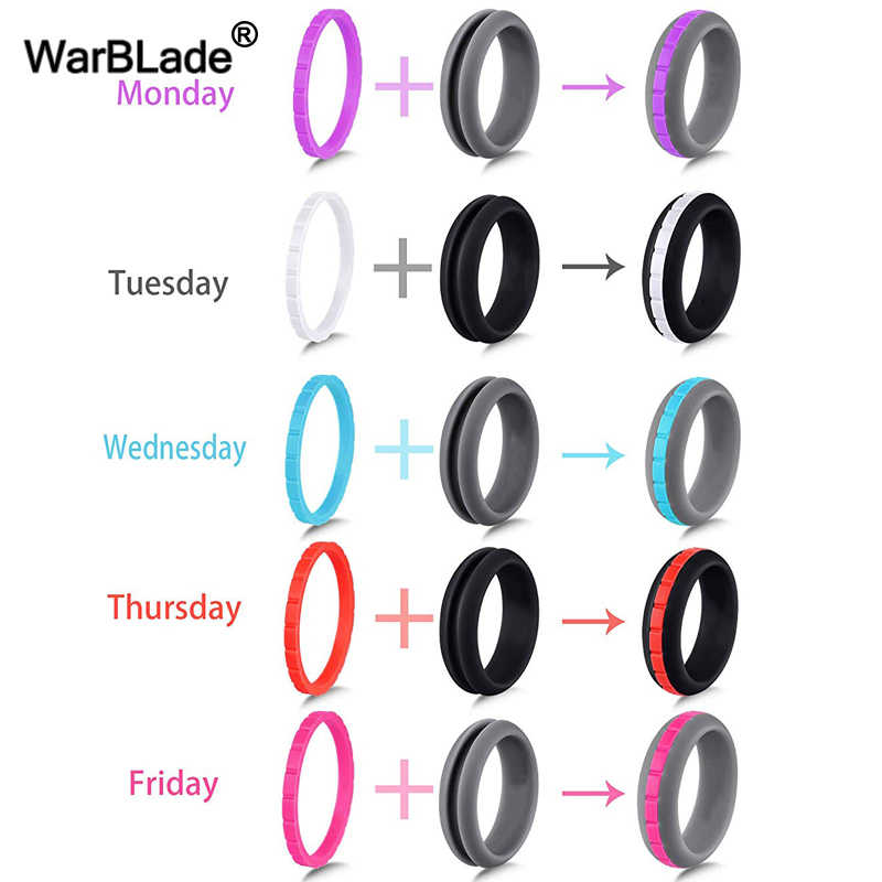 WBL 10 Color Combinations Silicone Ring Can DIY Change Color Hypoallergenic Crossfit Flexible Rubber Finger Ring For Men Women