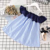 Retail 2017 Summer New Girls Dress Lace Sleeveless Baby Girl Dresses Cute Patchwork Striped Kid Girl