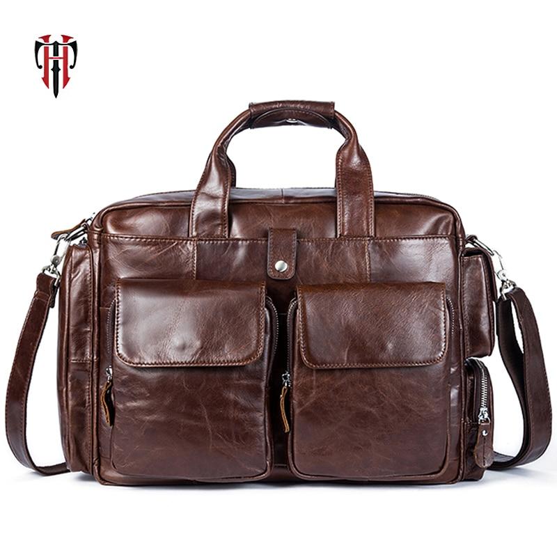 TIANHOO Large Capacity Briefcase Man Genuine Leather Bag 14 Inch Laptop Bag Soft Fashion Men Shoulder & Handlebag