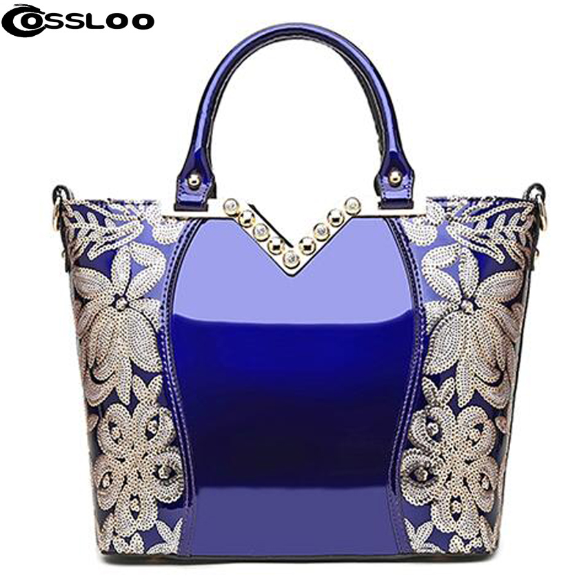 COSSLOO patent leather Women crossbody shoulder bag Luxury Women messenger bag Fashion handbag Brand tote wedding party bolsos rdywbu brand genuine leather tote handbag 2017 women colourful flowers patchwork shoulder bag plaid messenger crossbody bag b293
