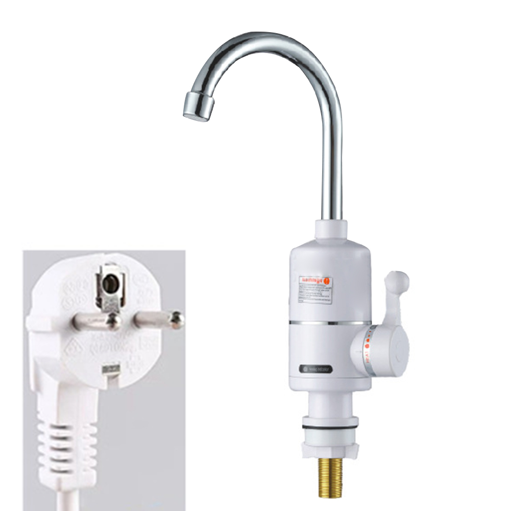 Electric Heating Tankless Kitchen Faucet Instant Hot Freestanding Bathroom Water Tap Adjustable Temperature Safety Protection