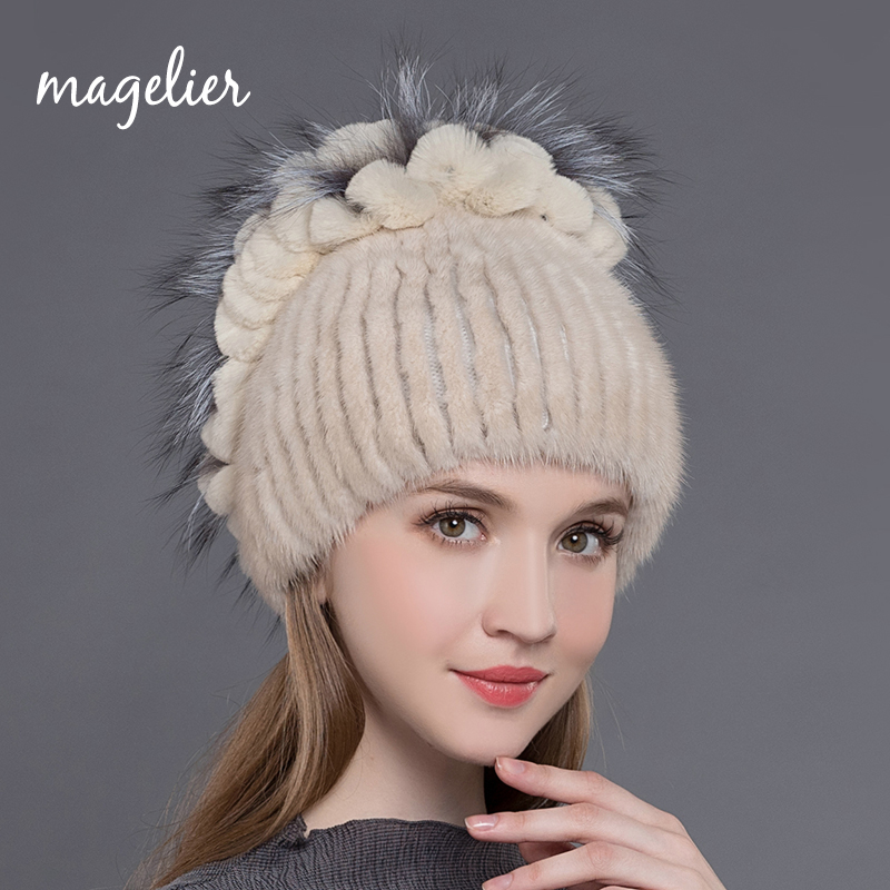 Magelier Real Mink Fur Hats for Women Winter Warm Natural Rex Rabbit Fur Beanies Fashion Brand Fox Fur Caps New Arrival MZ018 new hot selling women s wigs hand woven mink fur with real women warm winter fashion hats high quality multicolor 2336