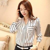 2016 Striped Blouse Office Wear Shirt Women Chiffon Top Ladies Shirts Formal Long Sleeve Cotton Blouse