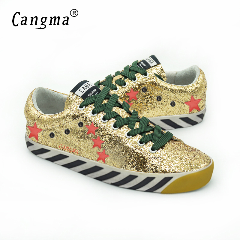 ФОТО CANGMA 2017 Fashion Original Top Quality Women Shoes Genuine Leather Sequin Casual Glitter Gold Shoes Merk Schoenen Vrouw Zapato