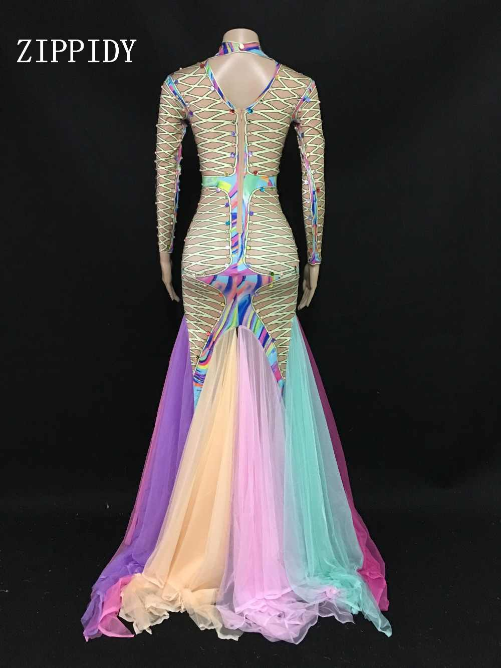 Разноцветное Сетчатое платье с длинными рукавами, танцевальный сценический костюм певицы, цельное длинное платье, женский день рождения, празднование