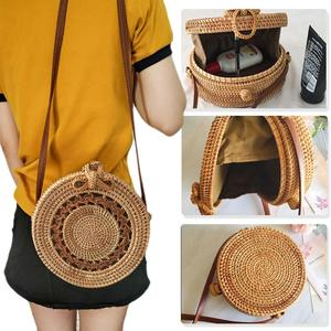 Image 3 - Rattan Storage Bag Handmade Bohemian Retro Style Home Woven Bag Hollow Twist Pattern Fashion Womens Pouch 2019