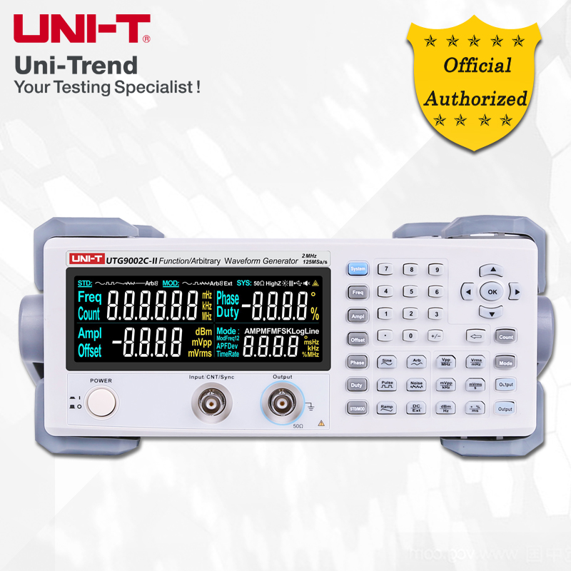 UNI-T UTG9002C-II function / arbitrary waveform generator; 2MHz single channel digital signal source, 125MS / s sampling rate осциллограф uni t utd2072cex ii