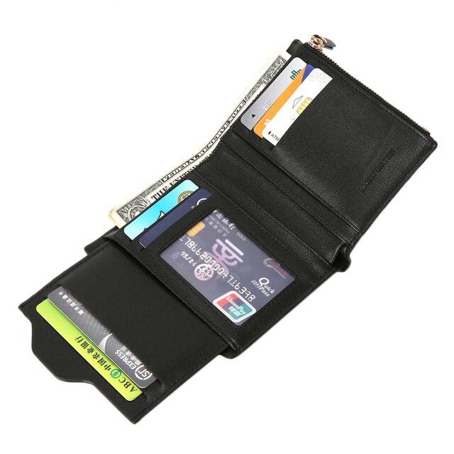 Bogesi Men Short Leather Solid Wallets Male Black Money Purses with Zipper 3
