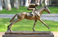 Art Deco Sculpture Horse Racing Bronze Statue