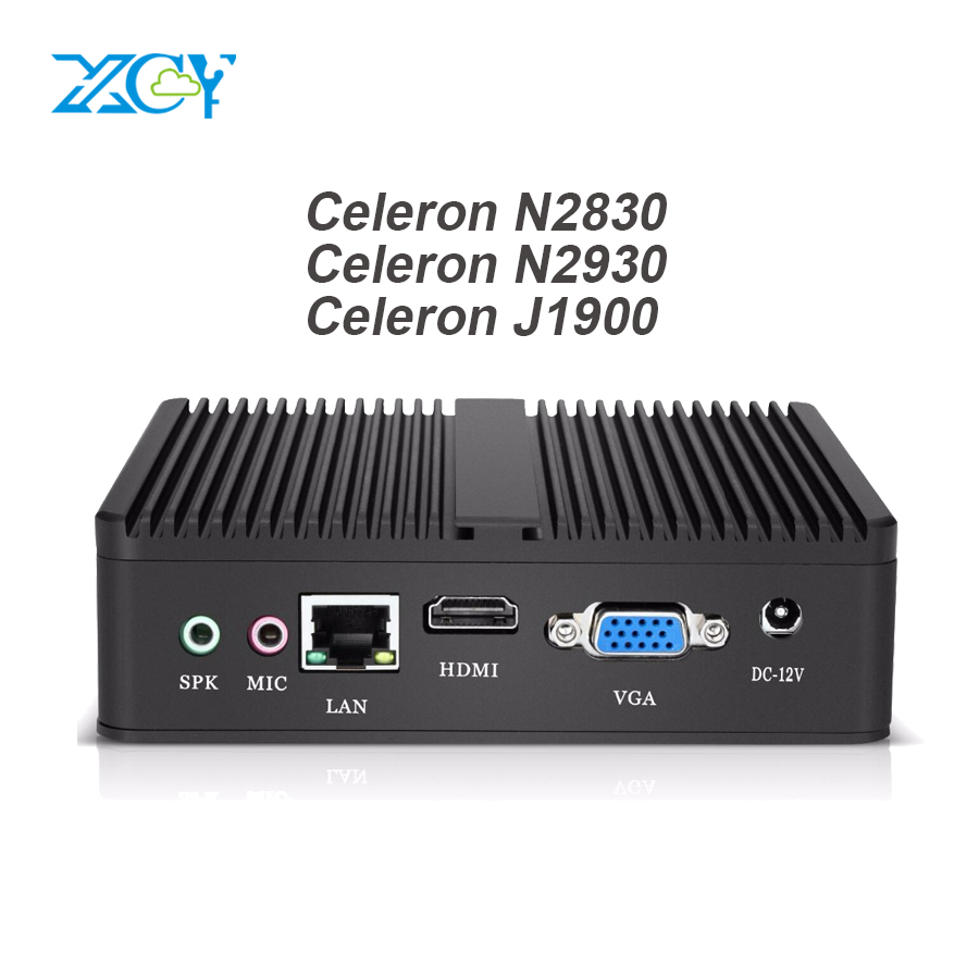 XCY Fanless Mini PC Computer Intel Celeron N2830 N2840 2.16GHz Windows 10 Celeron J1900 Desktops Office HTPC VGA HDMI WIFI