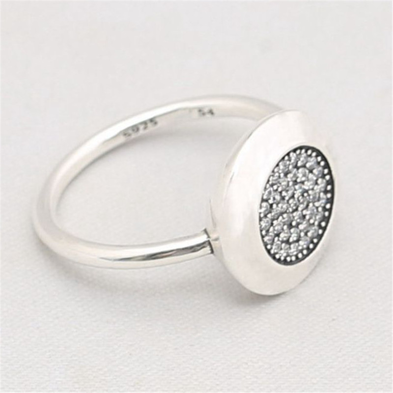 Hot Selling 925 Sterling Silver Fashion Pan Signature Ring With Full Clear CZ For Women Party Gift Fine Europe Jewelry Original in Wedding Bands from Jewelry Accessories