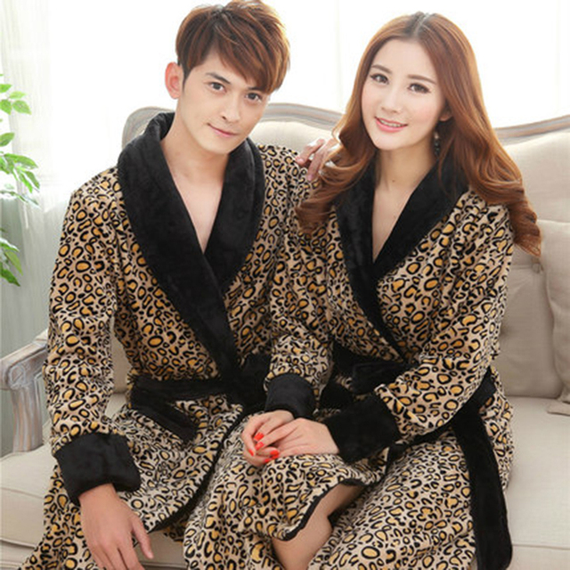 dddec96c51 Autumn Winter Women Robe Long Mujer Robe Men Couples Nightgowns Thickening  Coral Fleece Flannel Bathrobe Sexy Leopard Sleepwear