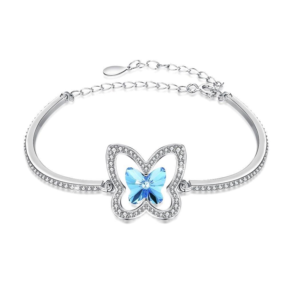 75074e425801 Comprar 925 pulseras de plata de las mujeres encanto azul Rosa pulsera de  mariposa de cristal S925 de fiesta señora cintura lleva joyería fina Online  ...