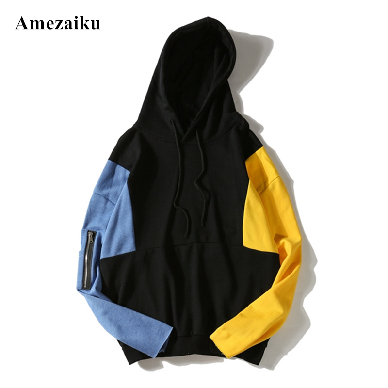Autumn and winter new casual hoodies sweatshirt hooded loose large size patchwork men and women sweatshits coat