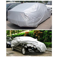 1PCS Universal 170T Silver Full Car Cover Sunscreen Heat Protection Dustproof Anti-UV Scratch-Resistant car Cover For Sedan