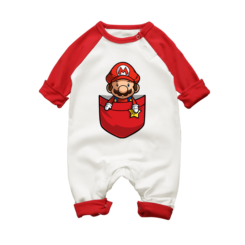 Baby Boy Super Mario Cartoon Print Rompers Winter Thick Infant Character Costume