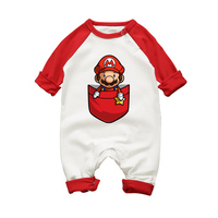 Baby Boy Super Mario Cartoon Print Rompers Winter Thick Infant Character Costume Girls Warm Clothes Baby